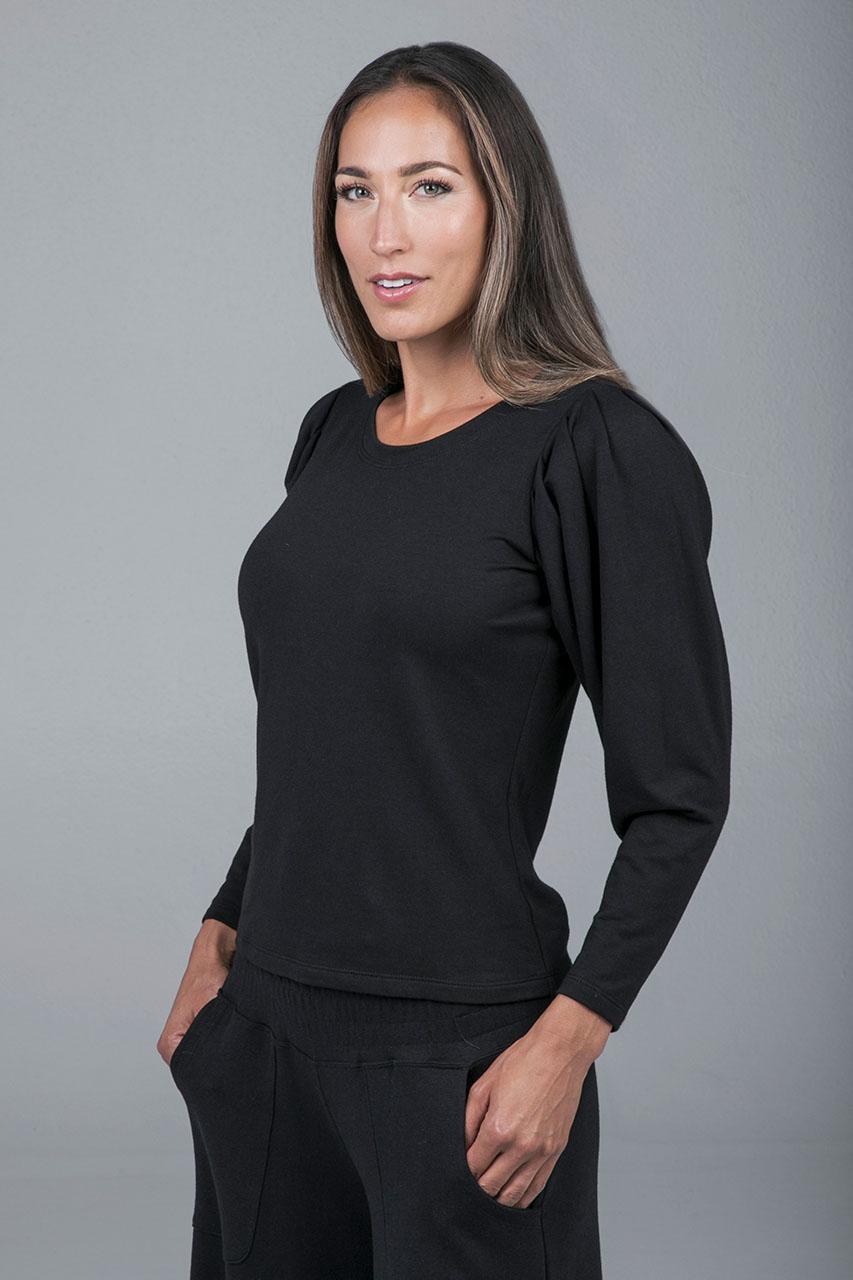 Puff shoulder sweatshirt Black