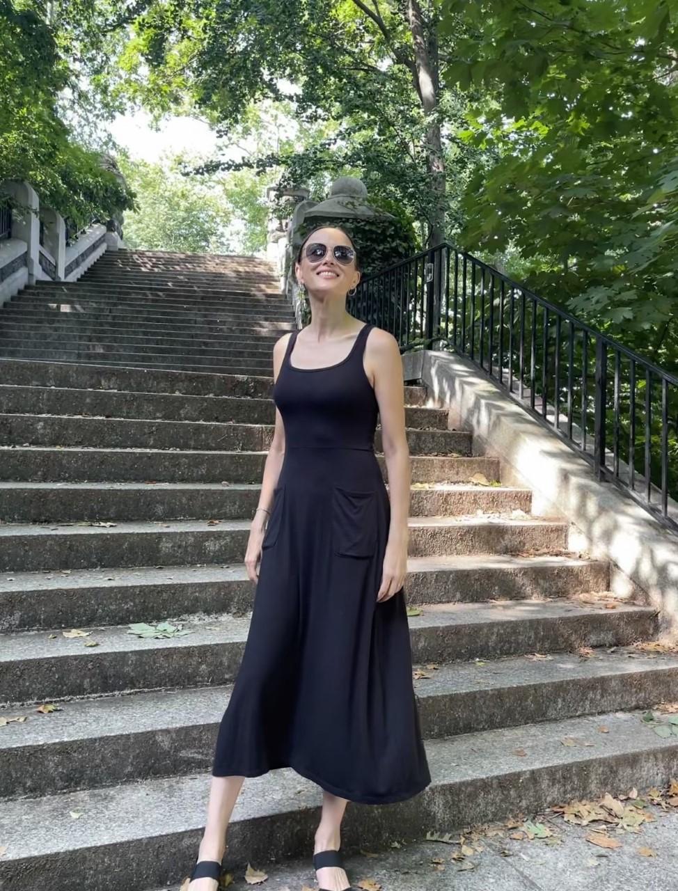Square Neck Dress - Black